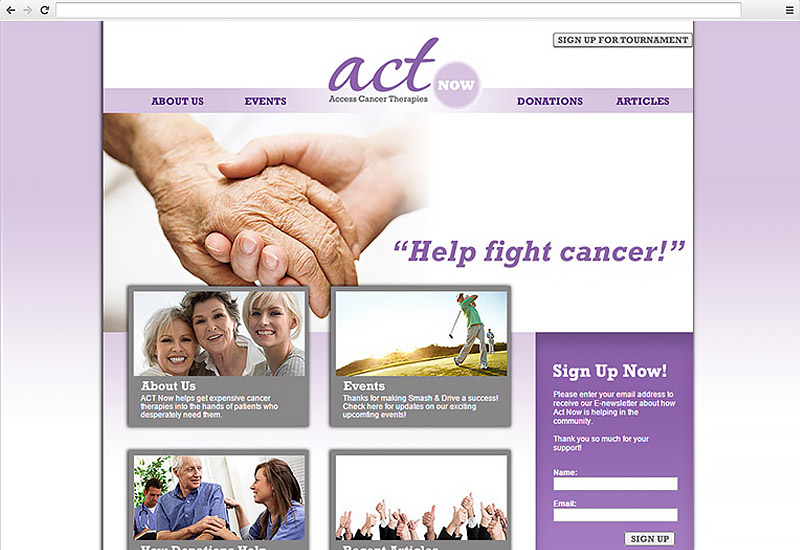 Act Now for Cancer Website Homepage