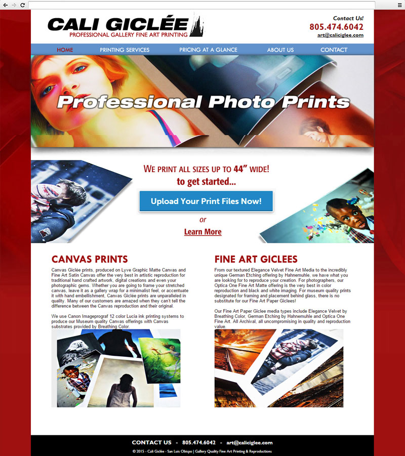 Cali Giclee Website Homepage