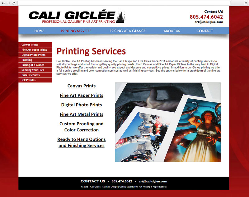 Cali Giclee Printing Services Page