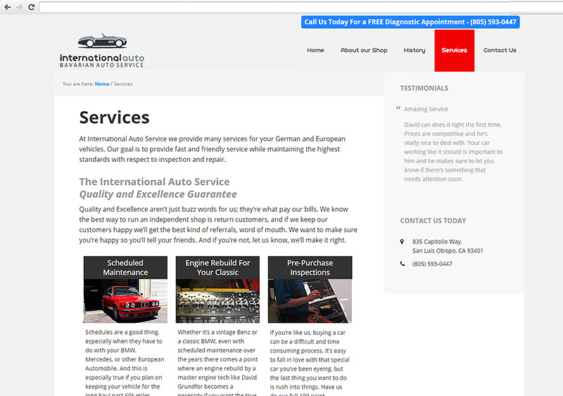 International Auto SLO Web Design
