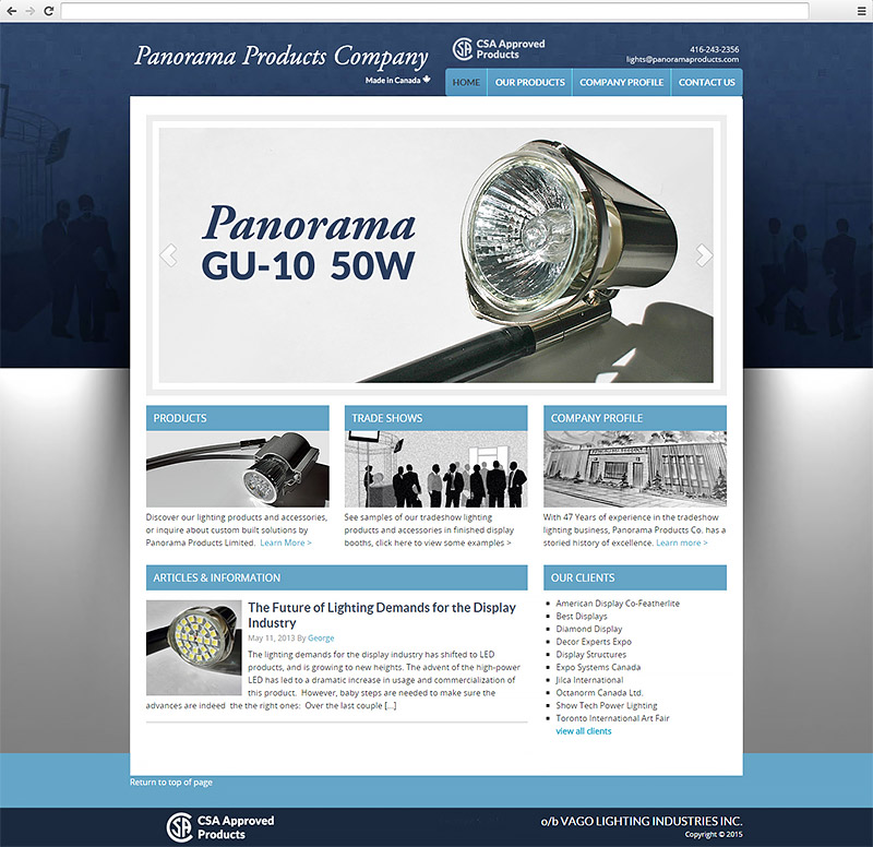 Panorama Products Company Website
