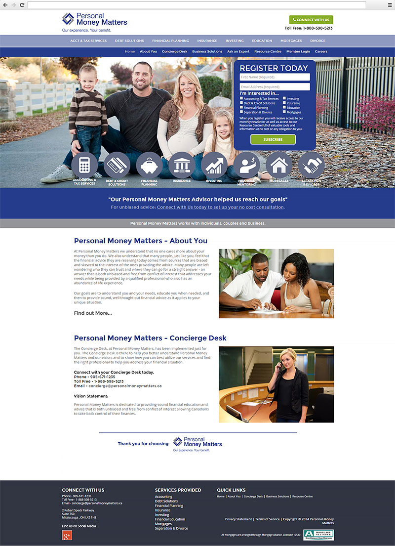 Personal Money Matters Website Homepage