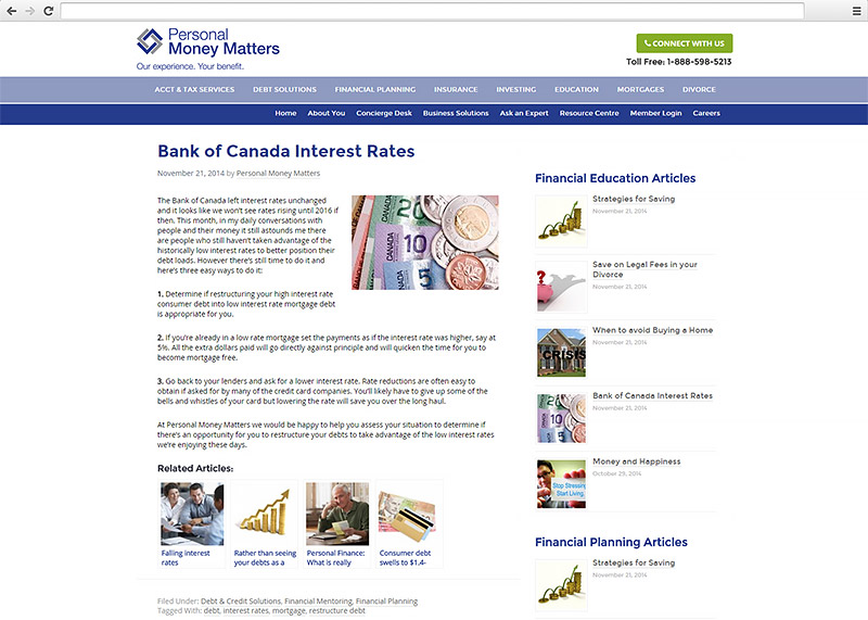 Personal Money Matters Website Articles