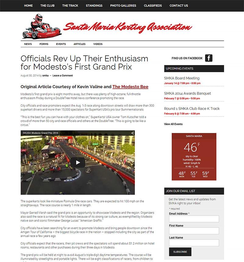 Santa Maria Karting Association Website